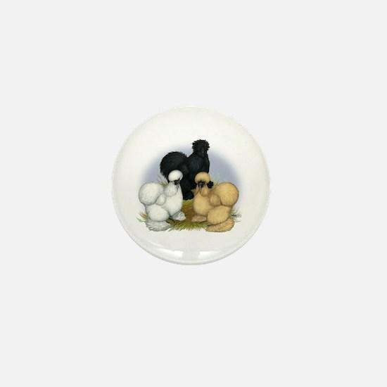 Silkie Chicken Trio Mini Button