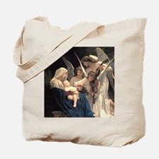 Cute Bouguereau the virgin with angels Tote Bag