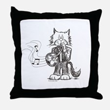 French Horn Cat Throw Pillow