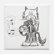 French Horn Cat Tile Coaster