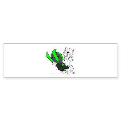Snowmobile Cat Green Sticker (Bumper)