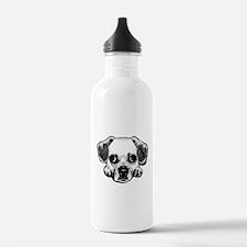 Black & White Puggle Sports Water Bottle