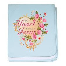 Heart belongs to Jesus baby blanket