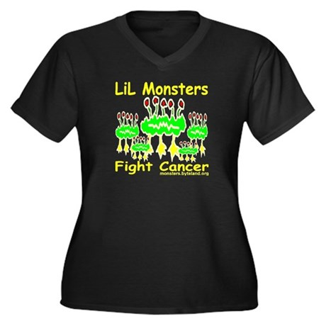 LiL Monsters Fight Cancer Women's Plus Size V-Neck