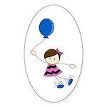 Cute Balloon Girl Sticker (Oval 10 pk)