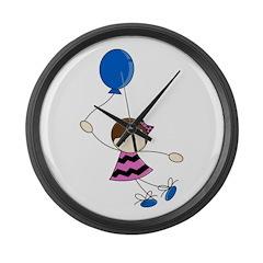Cute Balloon Girl Large Wall Clock