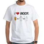 Beer + fat woman White T-Shirt