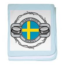 Sweden Hockey baby blanket