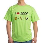 Beer + woman foot Green T-Shirt