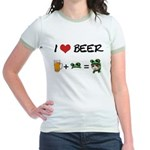 Beer + funny frog hat Jr. Ringer T-Shirt