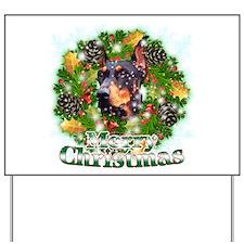 Merry Christmas Doberman 3 Yard Sign