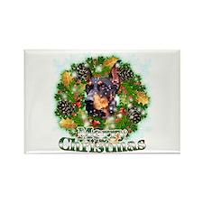 Merry Christmas Doberman 3 Rectangle Magnet
