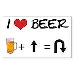 Beer + straight arrow Rectangle Sticker