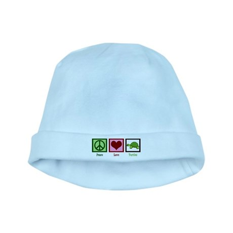 Peace Love Turtles baby hat