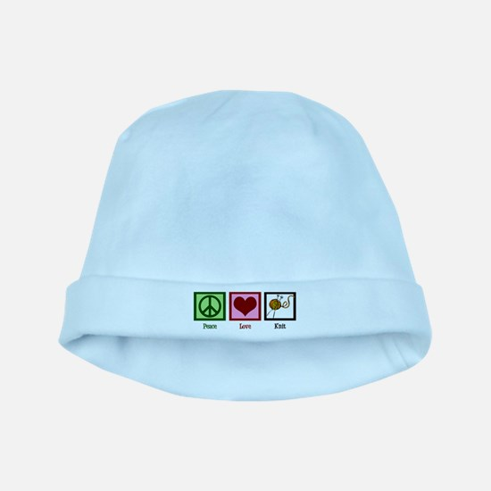 Peace Love Knit baby hat
