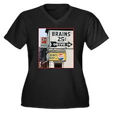Brains Women's Plus Size V-Neck Dark T-Shirt