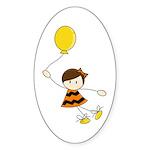 Cute Balloon Girl Sticker (Oval 50 pk)