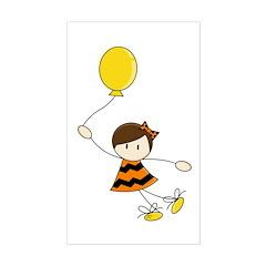 Cute Balloon Girl Sticker (Rectangle)