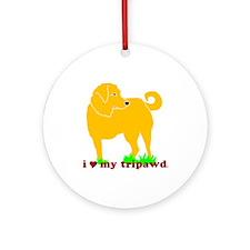 Golden Tripawd Love Ornament (Round)