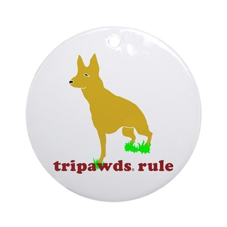 Tripawds Rule Front Leg GSD Ornament (Round)