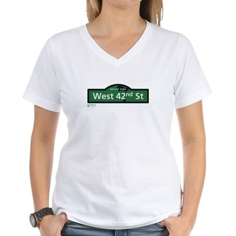 West 42nd Street in NY Women's V-Neck T-Shirt