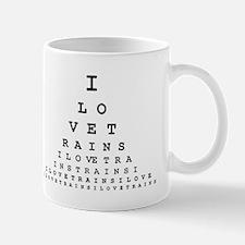I LOVE TRAINS EYE CHART Mug