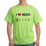 Beer + fire Green T-Shirt