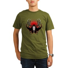 Deer skull in flames Organic Men's T-Shirt (dark)