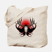 Deer skull in flames Tote Bag