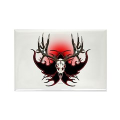 Deer skull in flames Rectangle Magnet