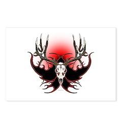 Deer skull in flames Postcards (Package of 8)