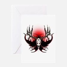 Deer skull in flames Greeting Card
