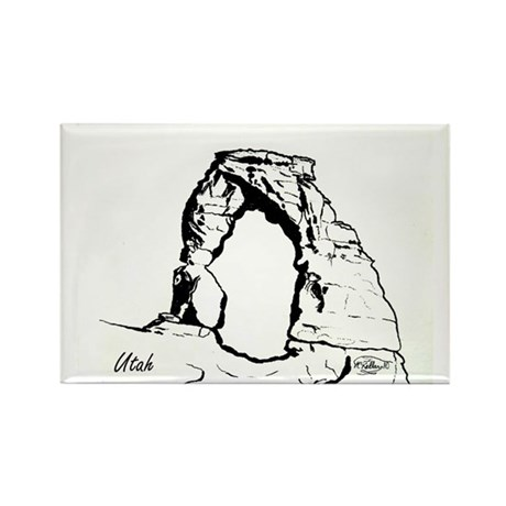 Delicate Arch BW Rectangle Magnet (100 pack)
