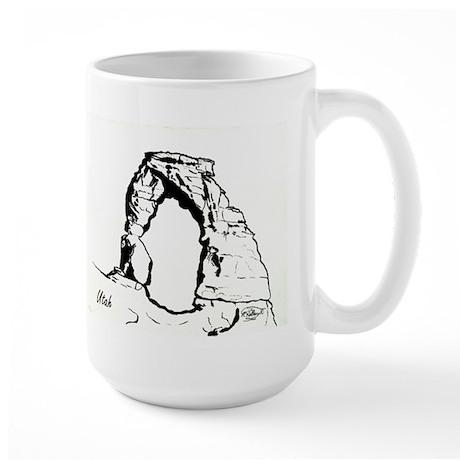 Delicate Arch BW Large Mug