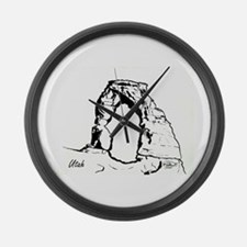 Delicate Arch BW Large Wall Clock