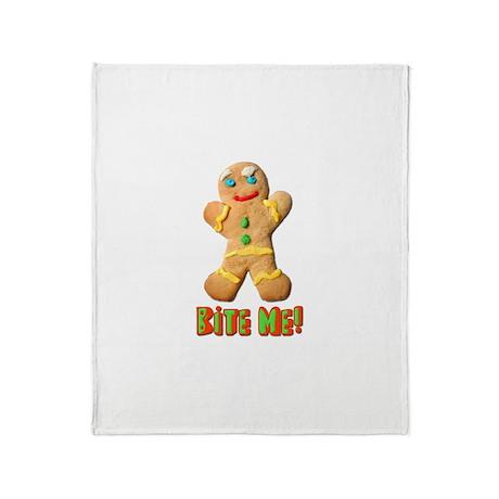 Bite Me Gingerbread Man Throw Blanket