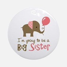 Big Sister to be - Mod Elephant Ornament (Round)
