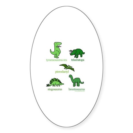 Dinosaurs Galore Oval Sticker