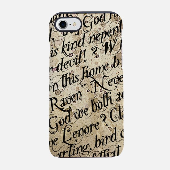 Poe Raven Text Pattern iPhone 7 Tough Case