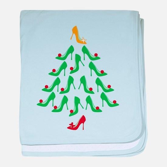 High Heel Shoe Holiday Tree baby blanket