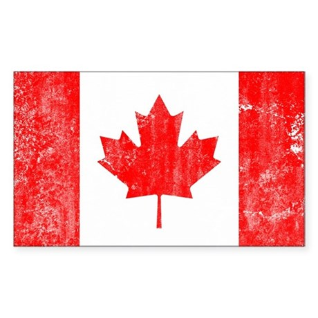 Canadian Flag Sticker (Rectangle)