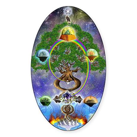 """Yggdrasil, The World Tree"" Oval Sticker"