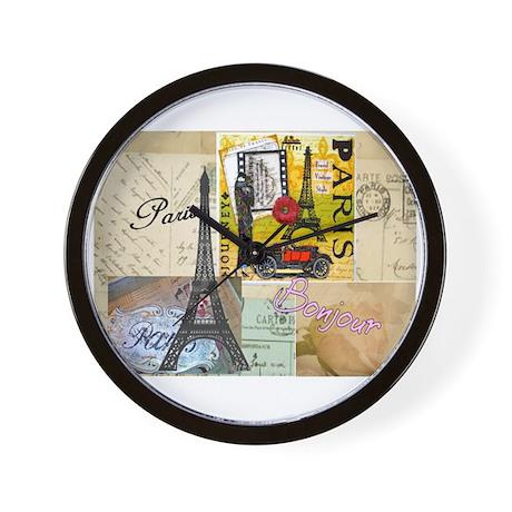 Paris & Eiffel Tower Wall Clock