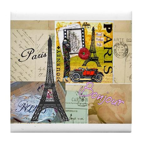 Paris & Eiffel Tower Tile Coaster