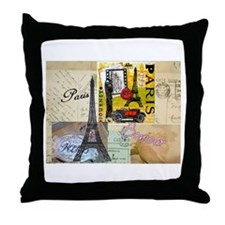 Paris & Eiffel Tower Throw Pillow