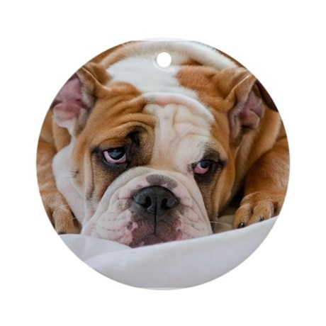 English Bulldog Puppy Ornament (Round)
