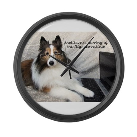 Sheltie Intelligence Large Wall Clock