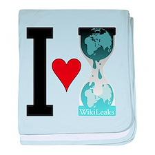 I heart WikiLeaks baby blanket