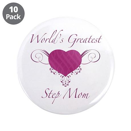 "World's Greatest Step Mom (Heart) 3.5"" Button (10"