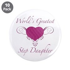 """World's Greatest Step Daughter (Heart) 3.5"""" Button"""